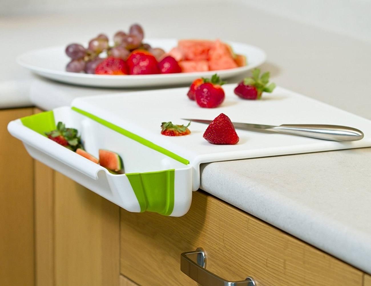 Cutting Board with Collapsible Bin