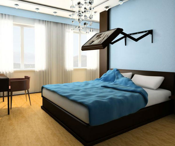 Transitional Bedroom Design Ideas With Flat Tv: Extended Flip Out TV Wall Mount » Gadget Flow