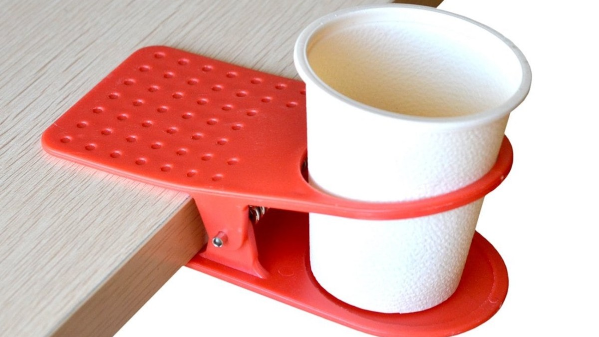 Portable Drink Clip Desk Cupholder ensures you always have a spot for your glass