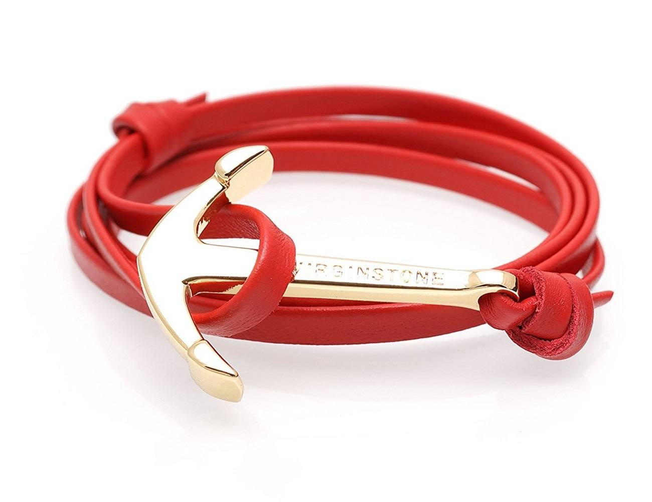 Red+Leather+Gold+Anchor+Bracelet