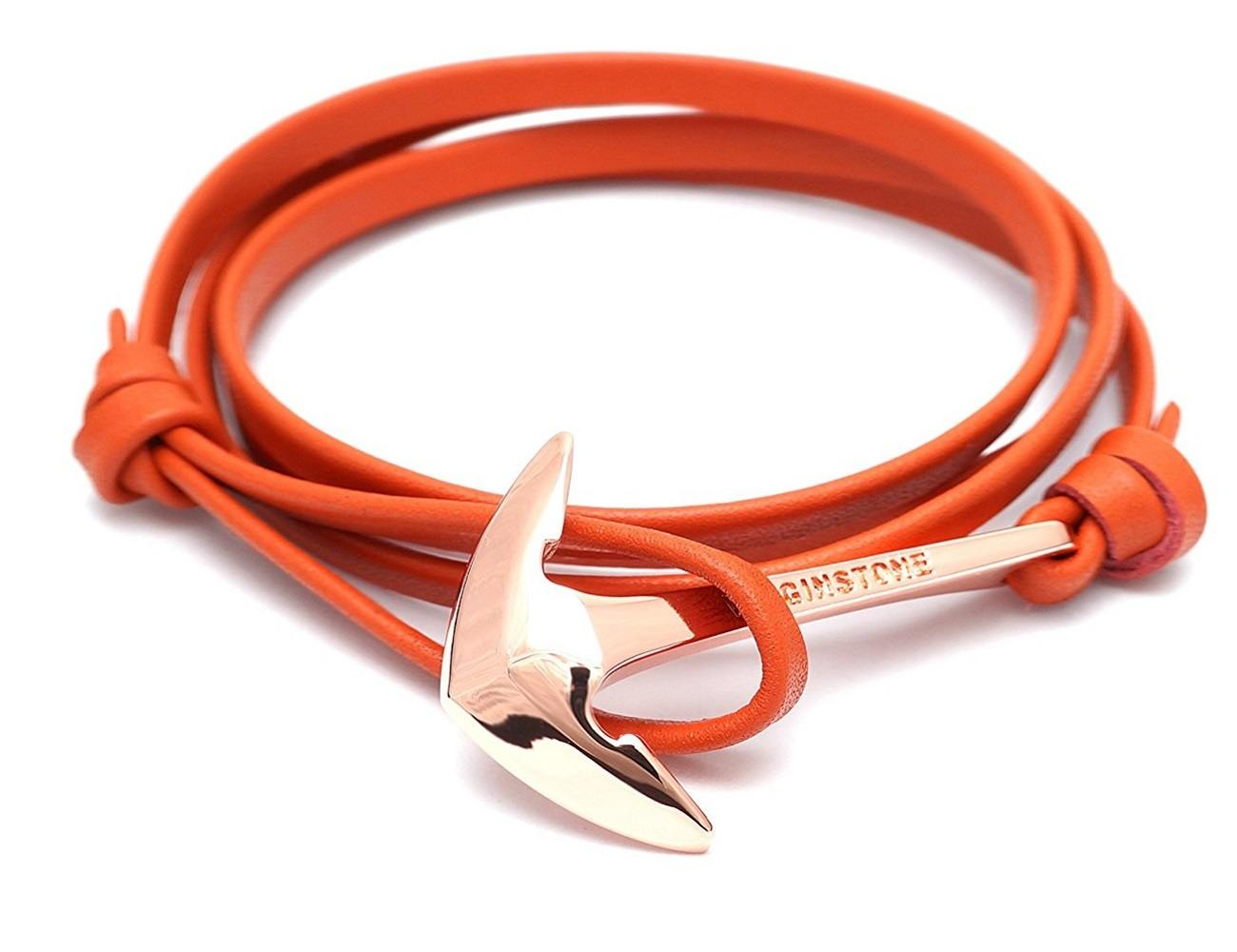 Red Leather Gold Anchor Bracelet