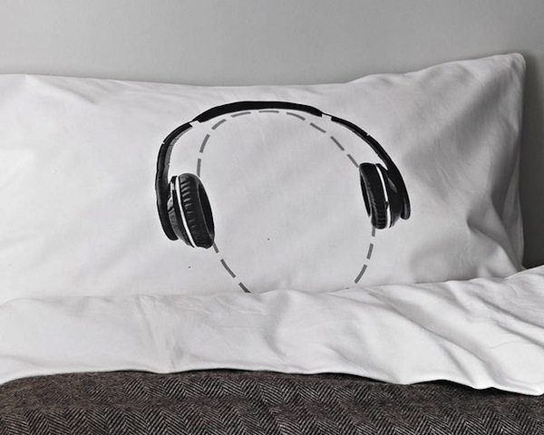 Headphones Head Case Pillow Case