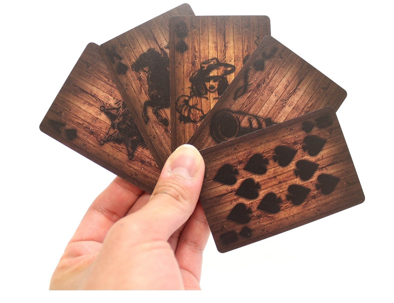 Wooden Deck Of Cards With Burnt Graphics by MollaSpace