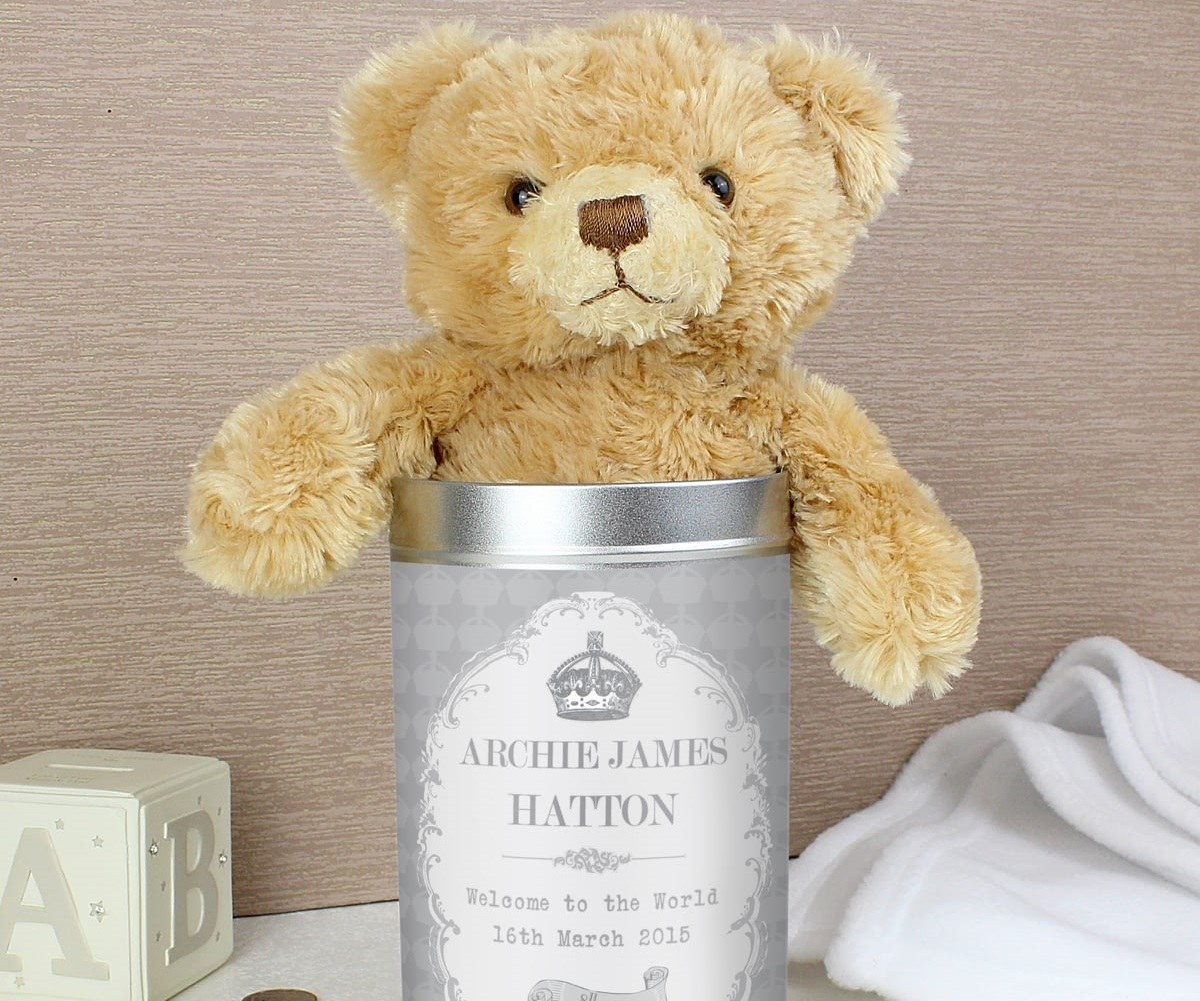 personalised teddy bear in a gift tin gadget flow