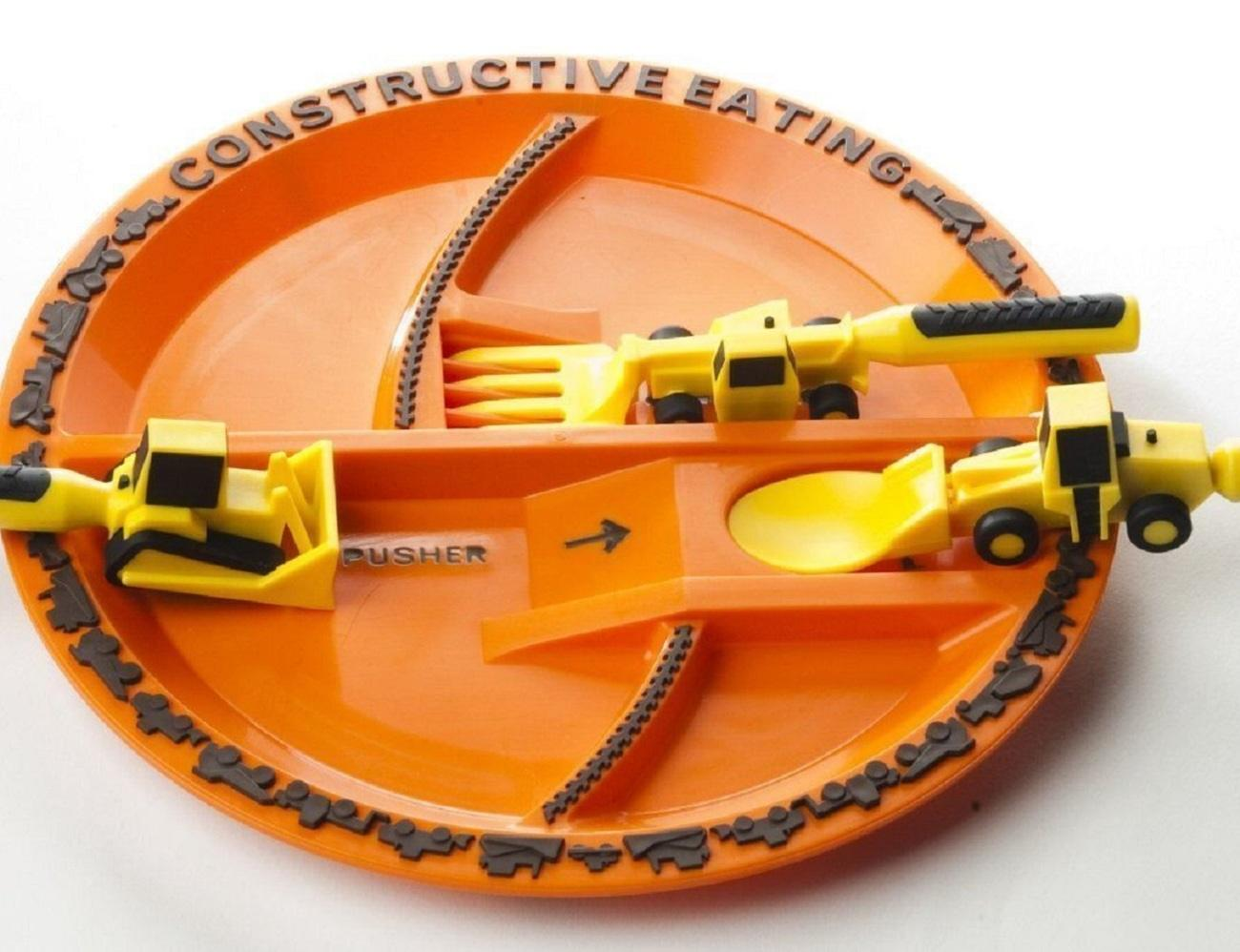 Constructive Eating Plate And Utensils