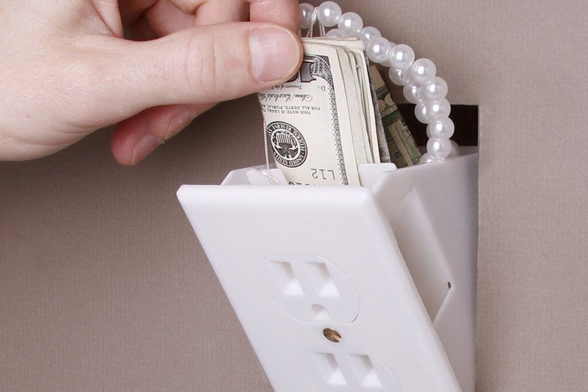 Hidden Outlet Wall Safe keeps your rainy day fund hidden from prying eyes