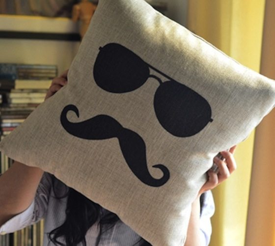 Mr.+Moustache+Pillow