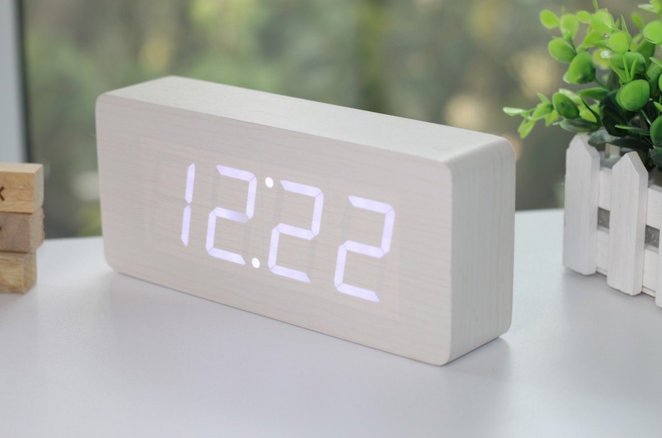 Wood Grain Led Alarm Clock 187 Gadget Flow