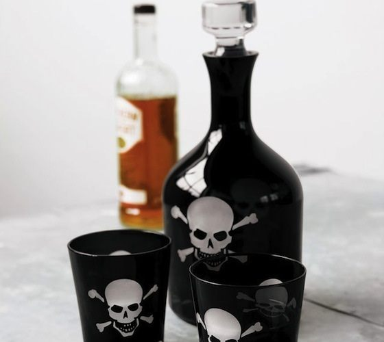 Over The Hill Skeleton Decanter And Glasses