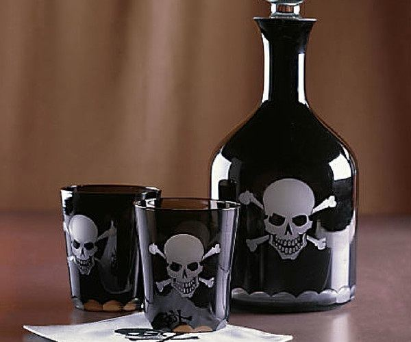 Over The Hill Skeleton Decanter And Glasses loading=