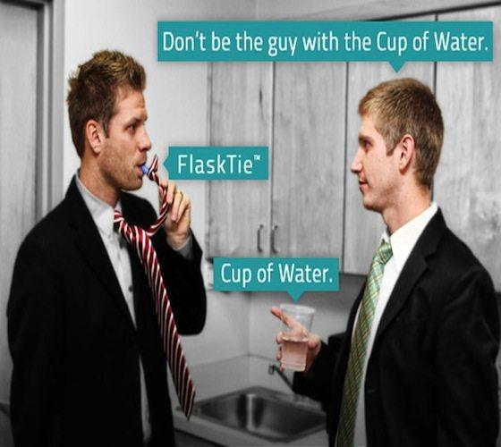 Flask Tie – Concealed Beverage Holder as a Necktie
