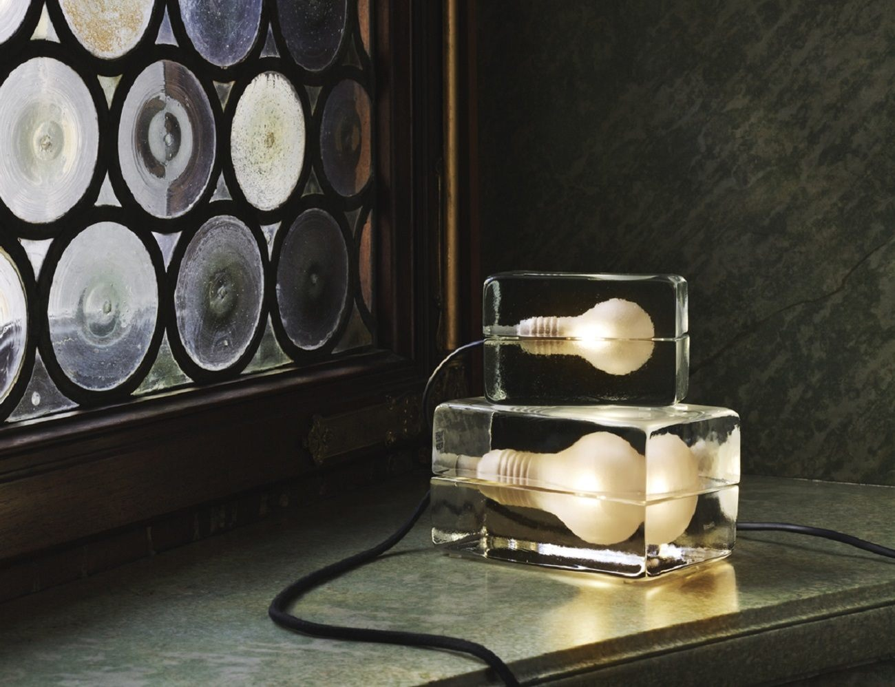Ice Block Lamp – Made of Handmade Clear Glass