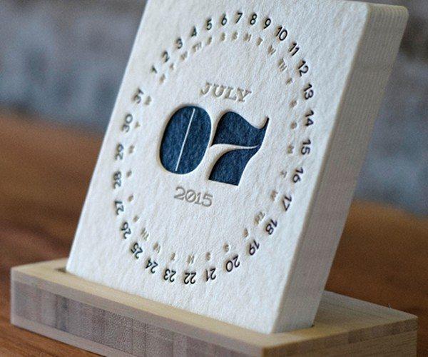 Letterpress Desk Calendar 2015
