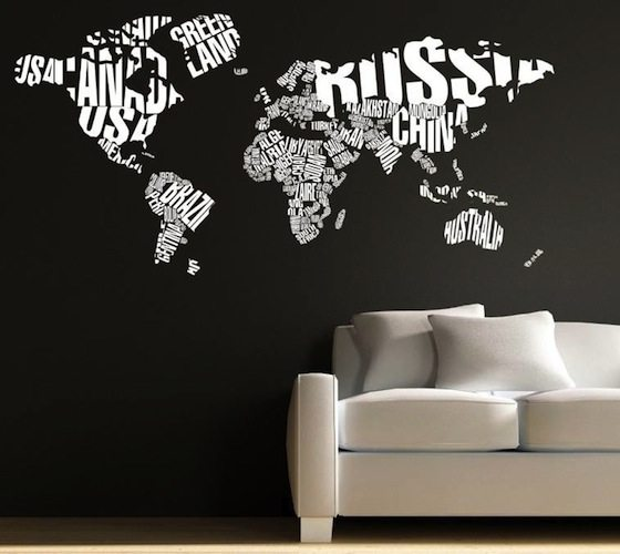 Wall Sticker World Map.Typography World Map Wall Decal Gadget Flow