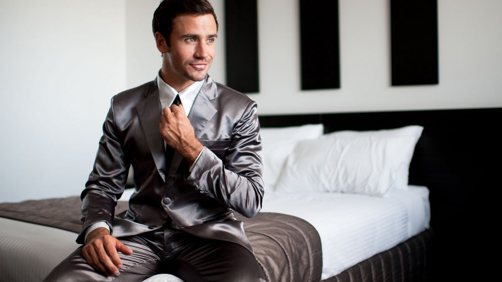 Suitjamas Designer Unisex Pajamas use a satin-cotton blend that goes from night to day