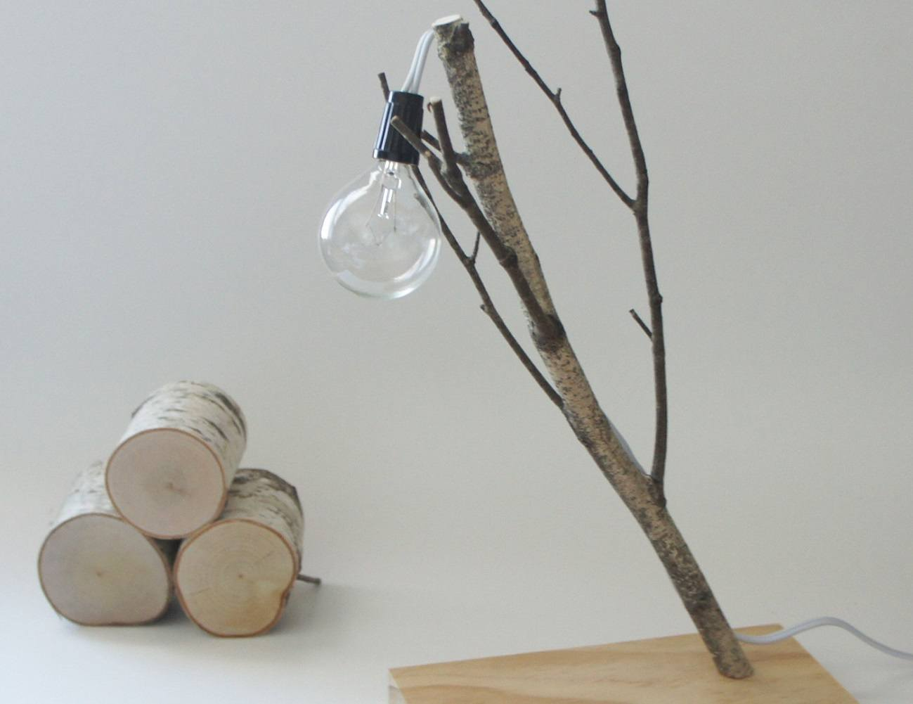 White Birch Branch Lamp Gadget Flow