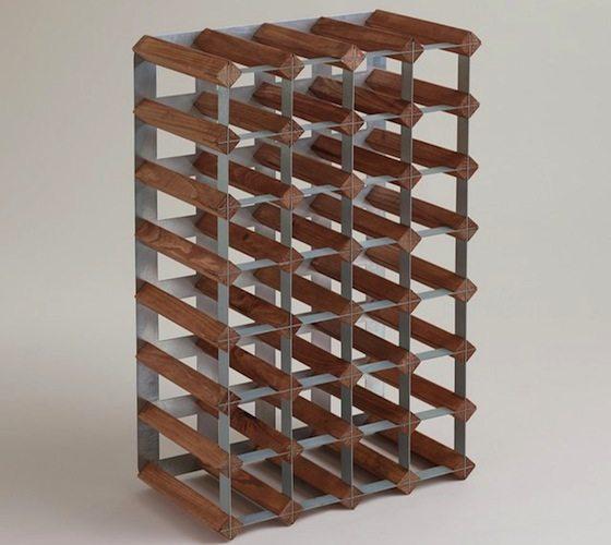 Wood+And+Metal+Industrial+Wine+Rack