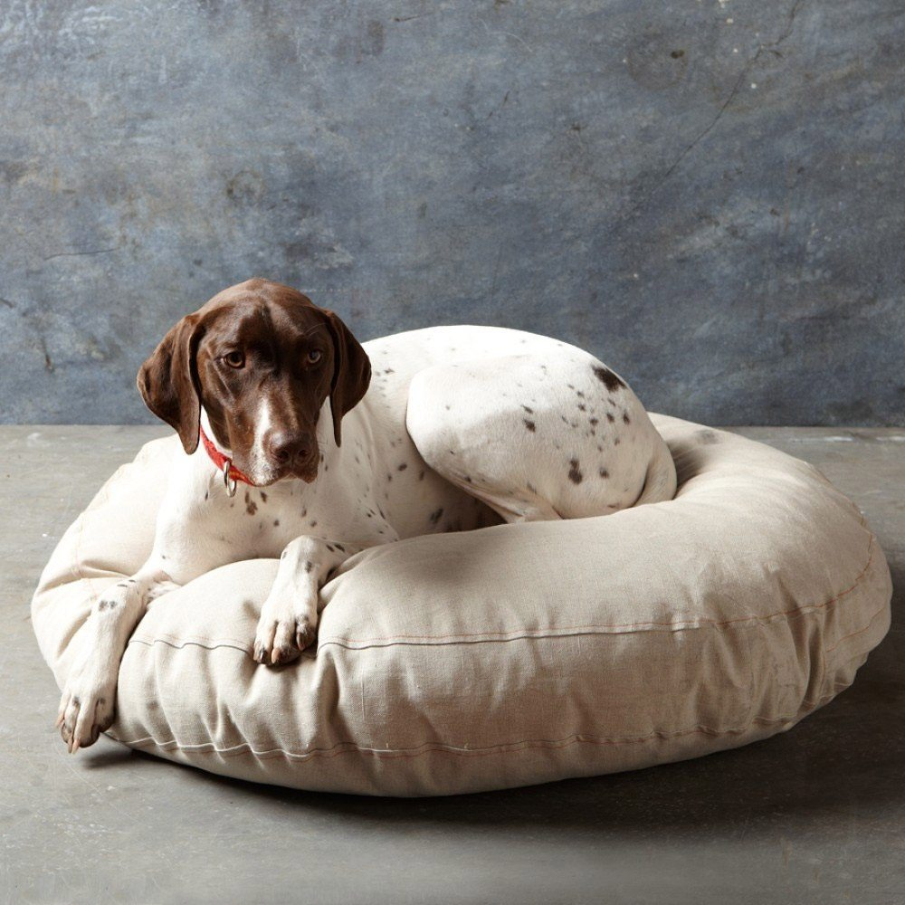 Embroidered French Linen Dog Bed