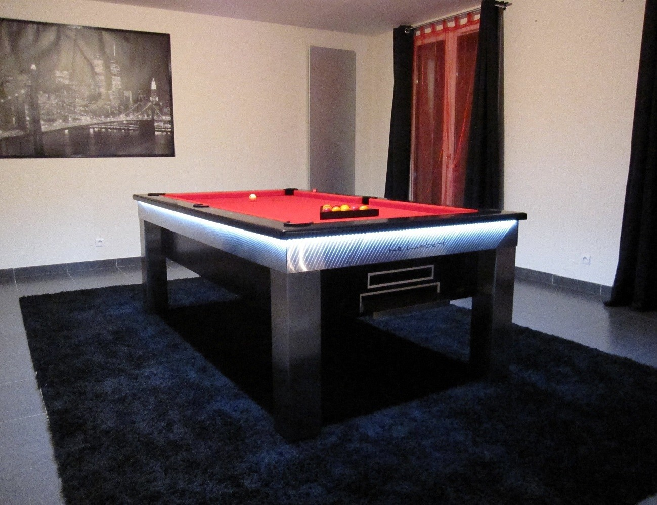 Lambert LED Slate Bed Pool Dining Table