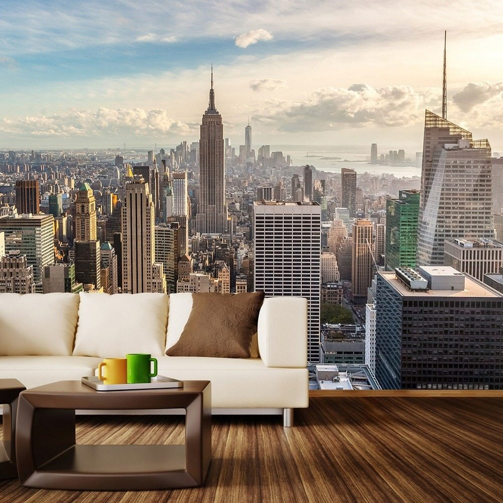 new york sunrise wall mural gadget flow. Black Bedroom Furniture Sets. Home Design Ideas