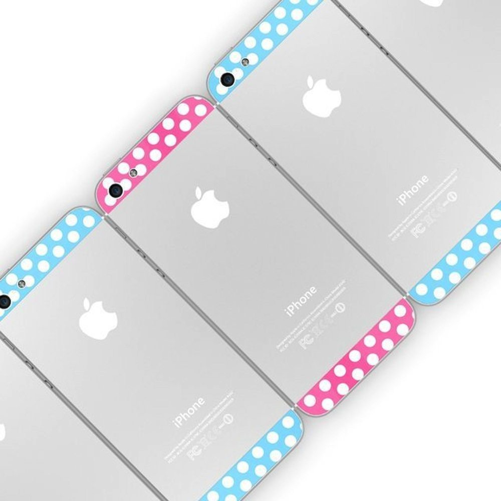 Polka-Dot-Top+Bottom-Glass-Back-Housing-Cover-For-iPhone