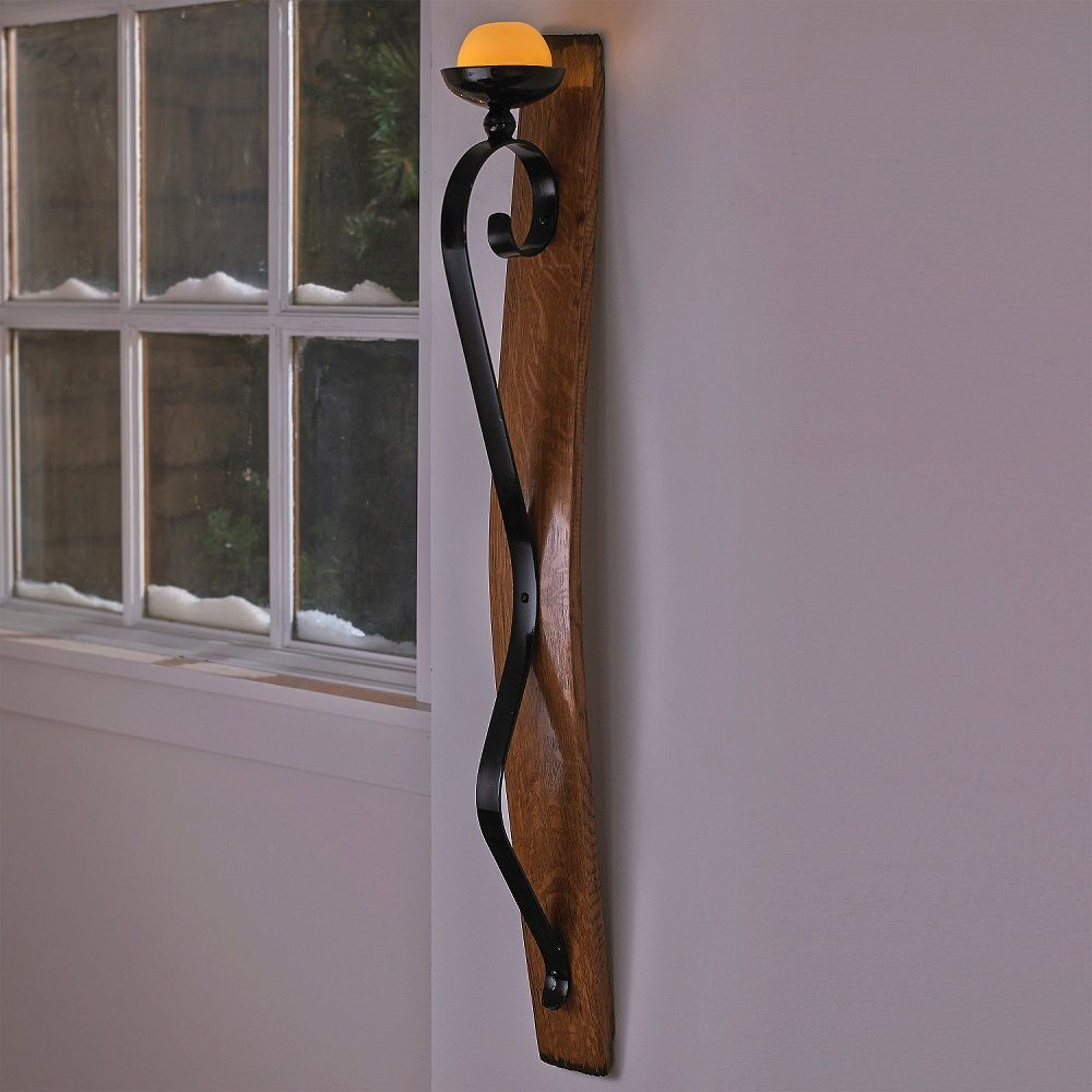 LED Single Wine Barrel Stave Sconce