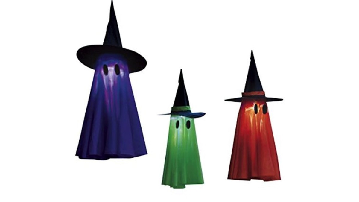 Hanging Light-Up Ghostly Witches make your home extra spooky for Halloween
