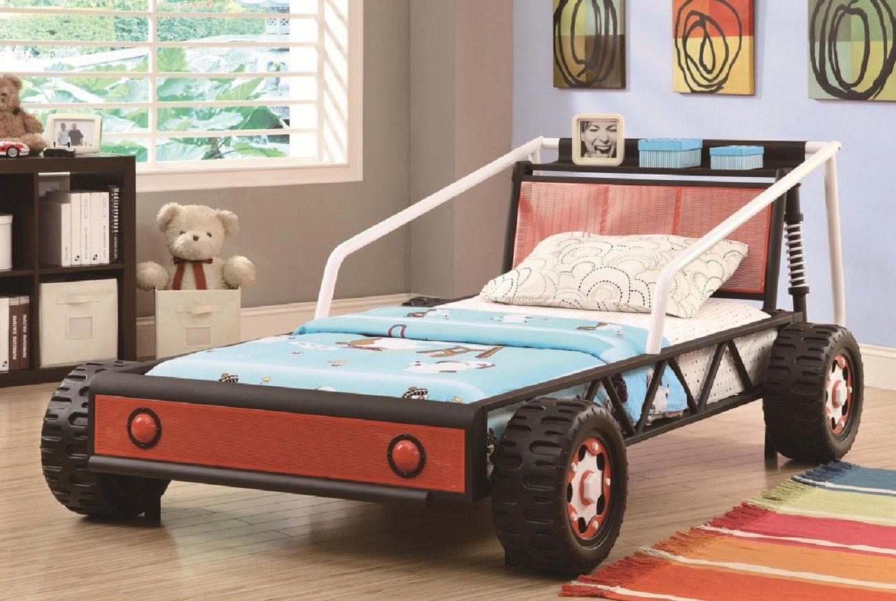 Kiran Race Car Platform Bed For Toddlers