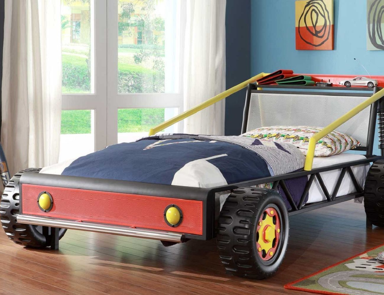 Kiran Race Car Platform Bed For Toddlers