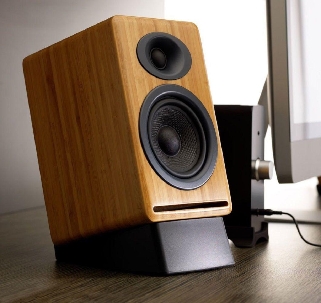 P4+Passive+Bamboo+Bookshelf+Speakers+From+Audioengine