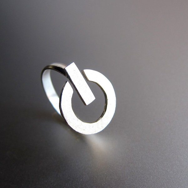 Power Button Silver Ring - $49