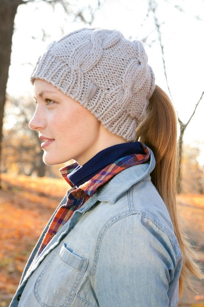Classic Cable Ponytail Hat by Peekaboos loading=