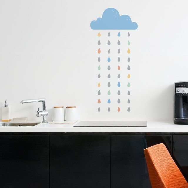 Eco-Friendly Rain Wall Decal