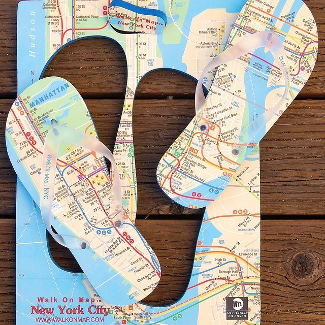 Walk On Map NYC Flip Flops