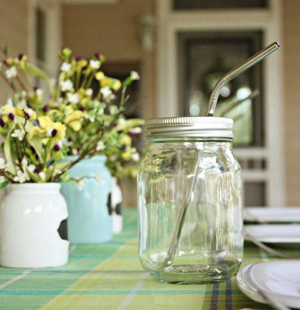 Mason Ball Jar Lid with Straw
