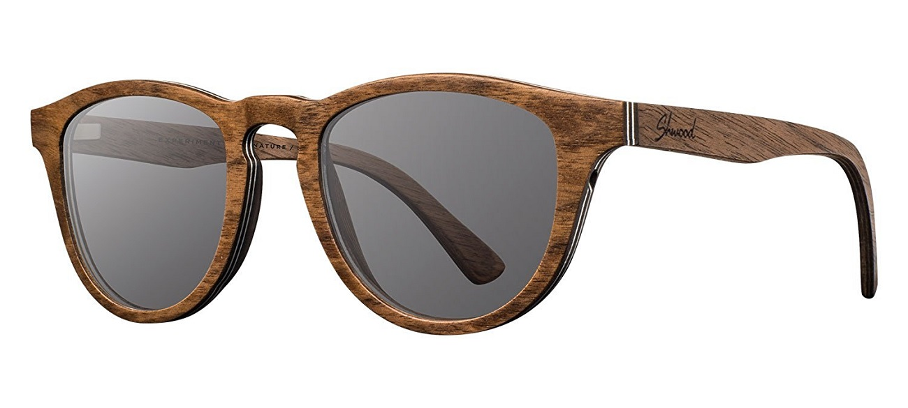 Belmont Dark Walnut and Grey Wooden Sunglasses