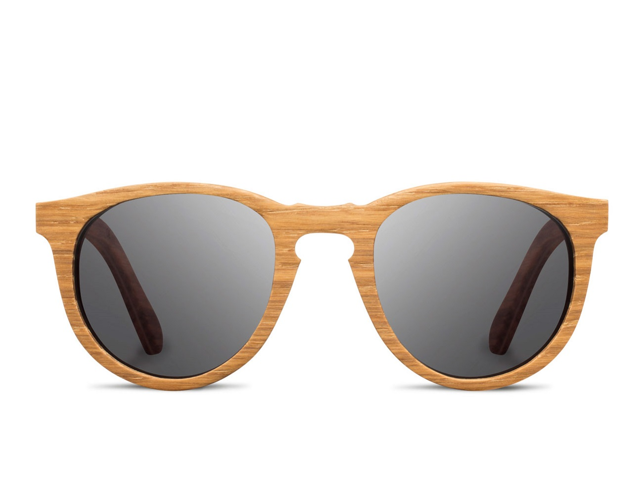 Belmont Dark Walnut and Grey Wooden Sunglasses