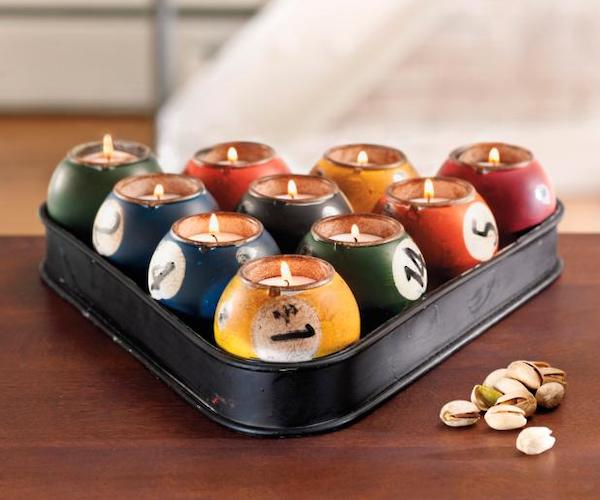Kalalou Multi-Colored Tin Pool Ball Candle Holder Set