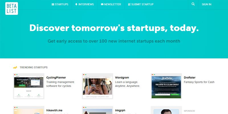 Betalist promotional site for startups and Kickstarter projects