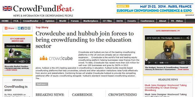 CrowdfundBeat promotional site for Kickstarter projects