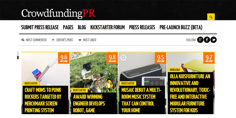 CrowdfundingPR promotional site for Kickstarter projects