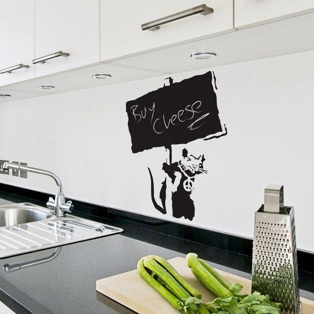Banksy+Chalkboard+Rat+Wall+Sticker