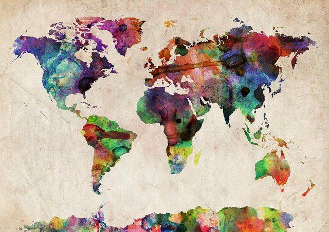 World+Map+Watercolor+by+Michael+Tompsett