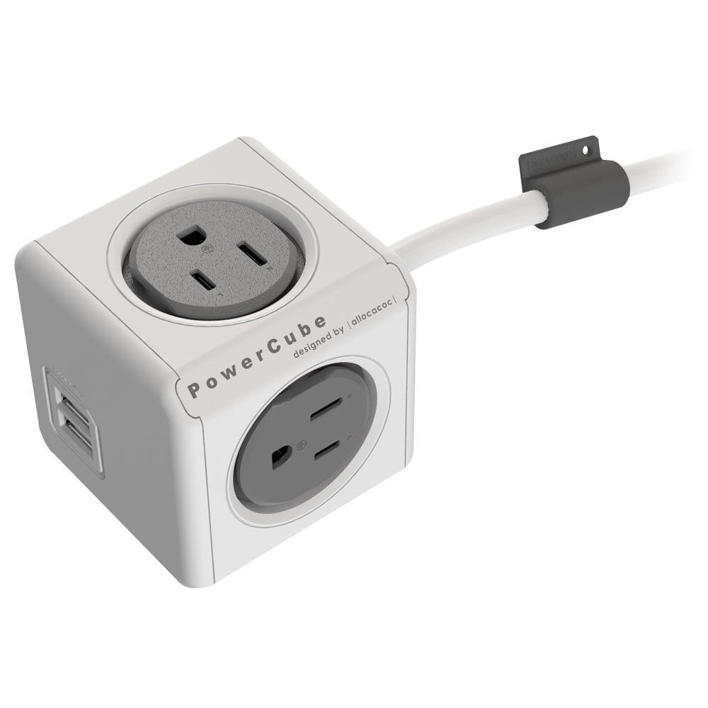 PowerCube Extended USB, Electric Outlet Adapter 5ft Extension Cord Power Strip loading=