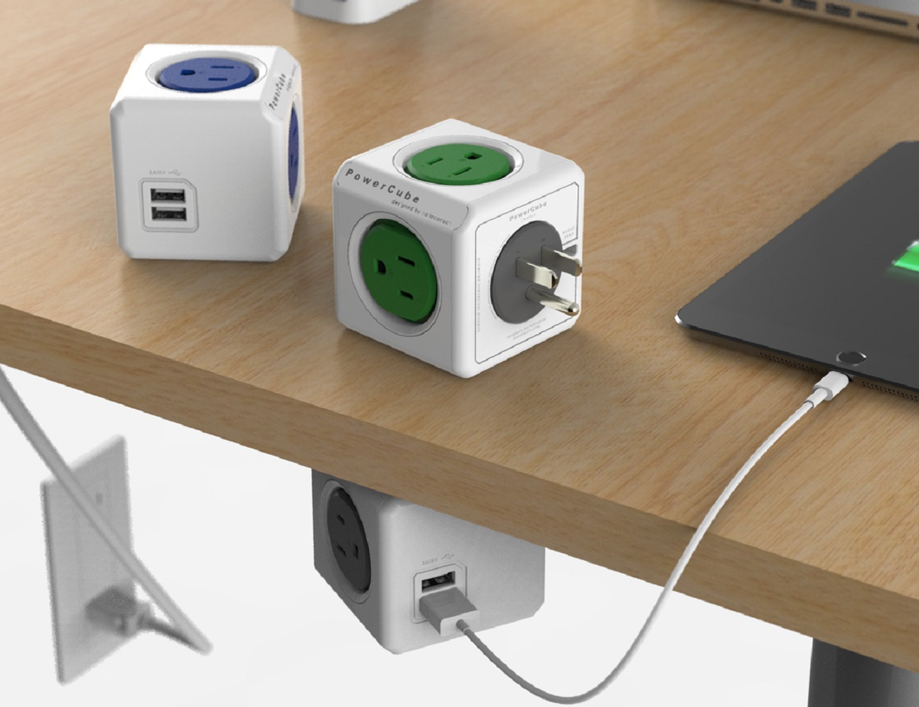 PowerCube Extended USB, Electric Outlet Adapter 5ft Extension Cord Power Strip
