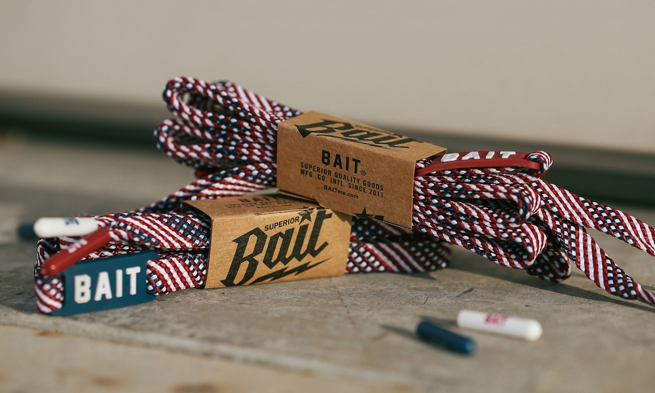 USA Flag Flat Shoelaces by Bait