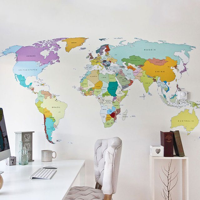 pics photos world map wall decal look up the world map wall stickers for kids on the