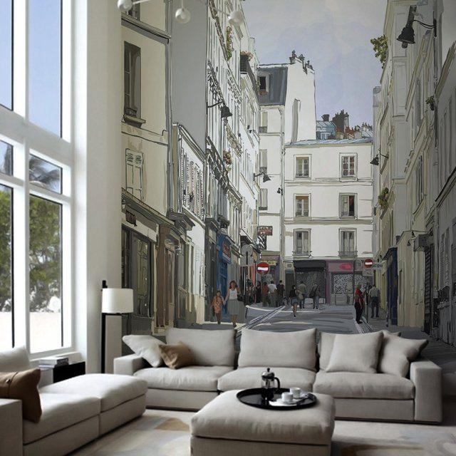 Street Near Montmartre Paris Wall Mural