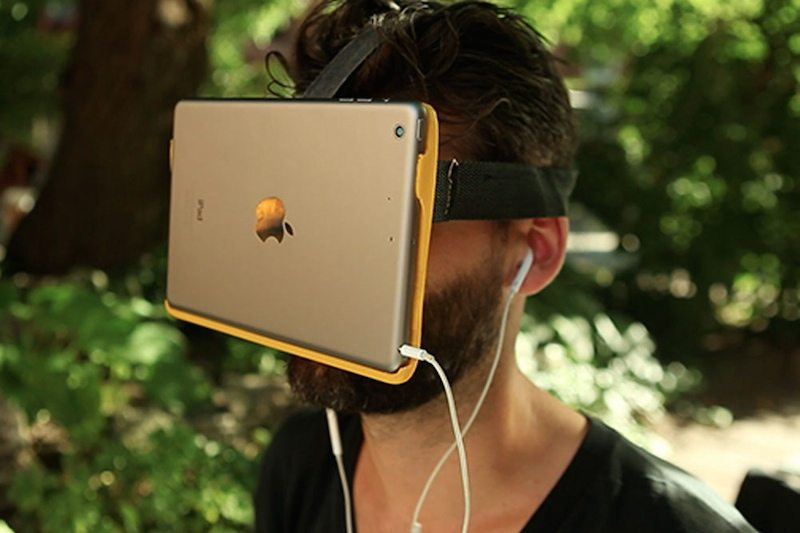 AirVR strapped on face