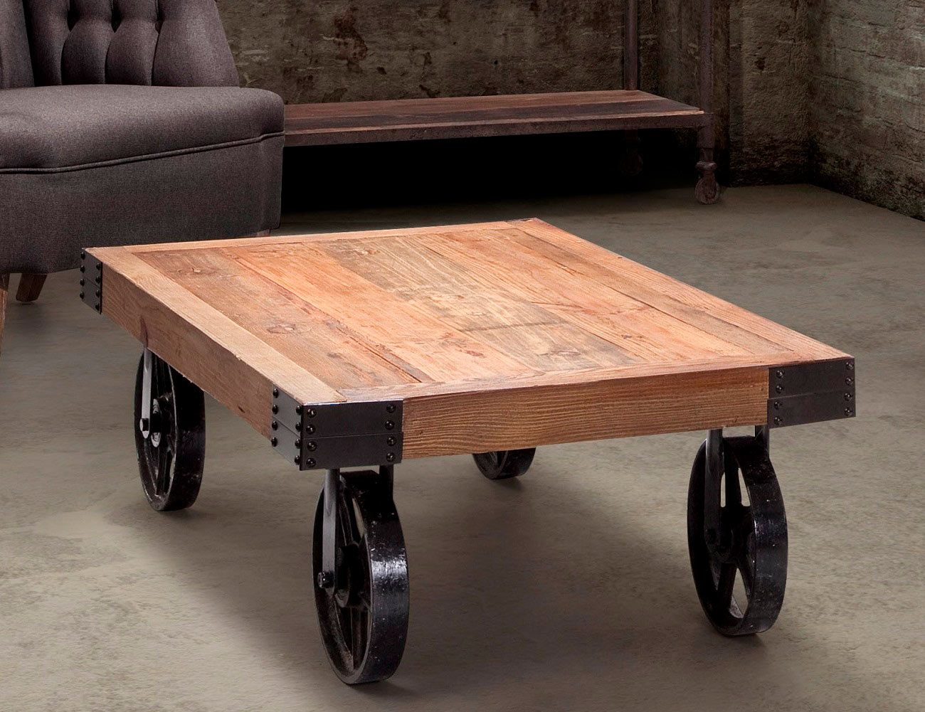 Barbary Coast Distressed Cart Table